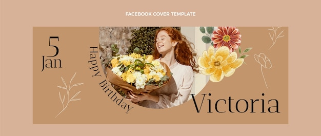 Акварельная рисованная обложка facebook для дня рождения