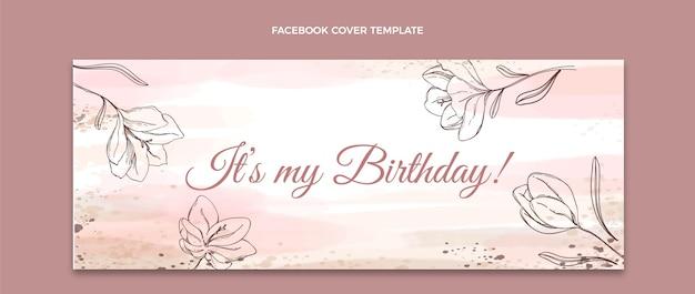 Copertina facebook di compleanno disegnata a mano ad acquerello