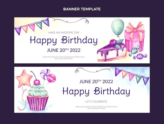 水彩手描きの誕生日の水平バナー
