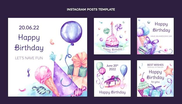 Post di instagram di compleanno disegnato a mano dell'acquerello