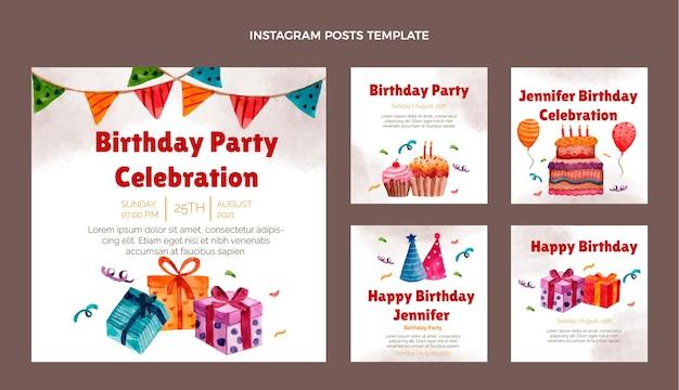 Акварель рисованной день рождения instagram пост