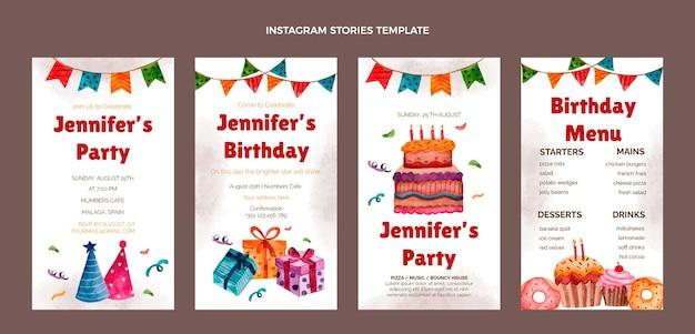 水彩手描きの誕生日のinstagramの物語