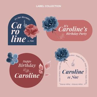 Etichetta e distintivi di compleanno disegnati a mano dell'acquerello
