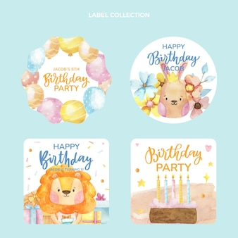 Watercolor hand drawn birthday label collection