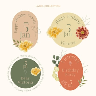 Watercolor hand drawn birthday labels