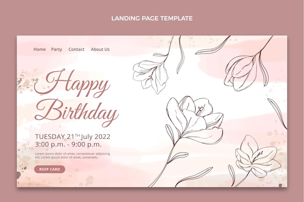 Pagina di destinazione di compleanno disegnata a mano dell'acquerello