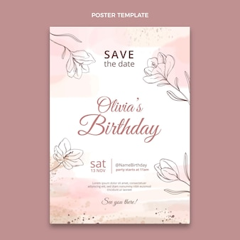 Watercolor hand drawn birthday poster