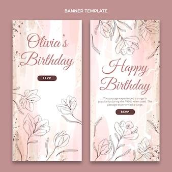 Bandiere verticali di compleanno disegnate a mano dell'acquerello