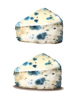 Акварель рисованной голубой сыр с плесенью