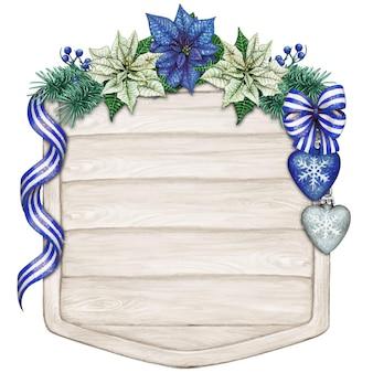 Акварель рисованной синий пуансеттия текстовое пространство на ветхом деревянном знаке