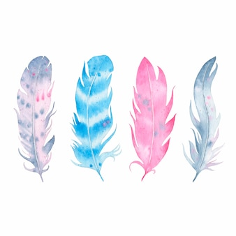 Watercolor hand drawn boho feather set isolated on white