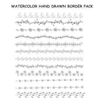 Watercolor hand drawn border pack