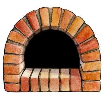 수채화 손으로 그린 벽돌 아치 피자 오븐
