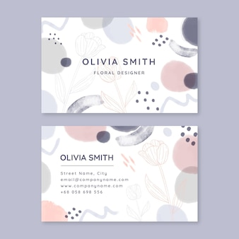 Watercolor hand drawn business card front and back