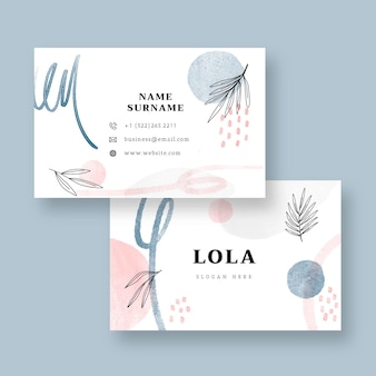 Watercolor hand drawn business cards template