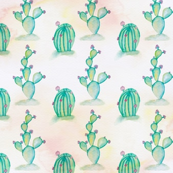 Watercolor hand drawn cactus and succulents pattern.