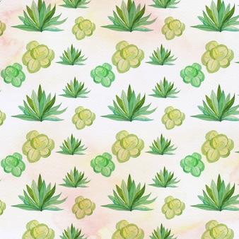 水彩の手はサボテンとsucculentsパターンを描いた。