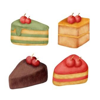 Watercolor hand drawn cake set.