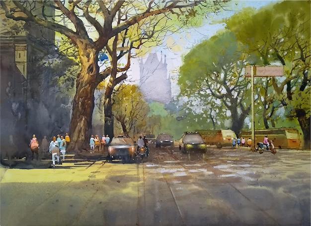 Акварель рисованной иллюстрации автомобиля на дороге