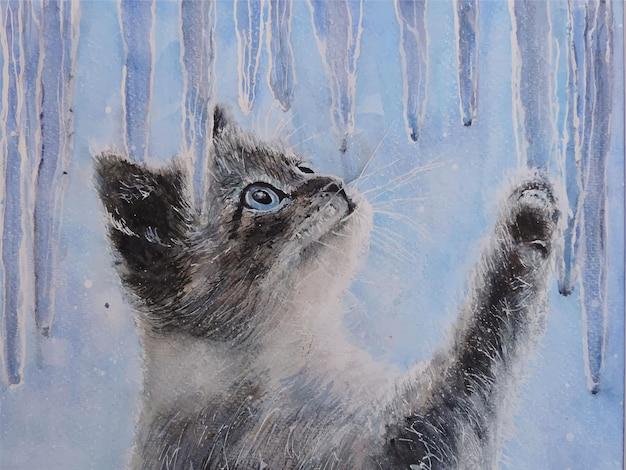 水彩手描き猫イラスト