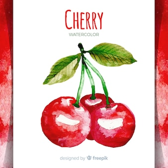 Watercolor hand drawn cherries background