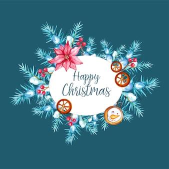 オレンジとジンジャーブレッドマンと水彩の手描きのクリスマスの背景