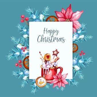 水彩手描きのクリスマスの背景