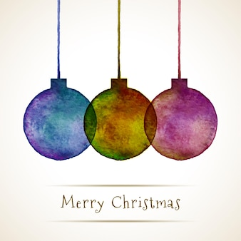 水彩手描きのクリスマスボール、ベクトル図