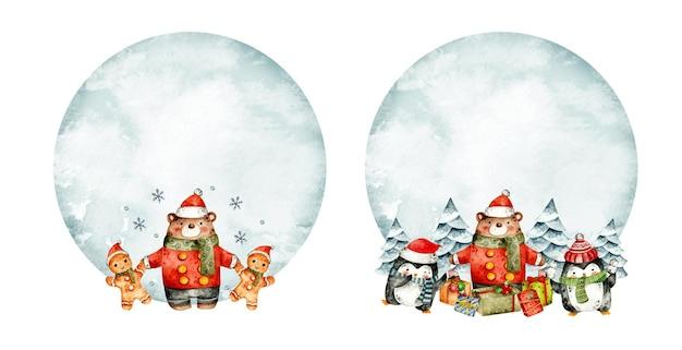 Акварель рисованной рождественские медведи шаблон кадра