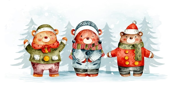 수채화 손으로 그린 크리스마스 곰