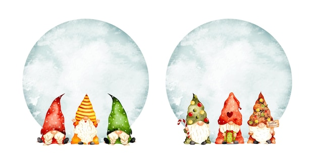 Watercolor hand drawn christmas gnome frame template