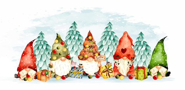 Watercolor hand drawn christmas gnomes with gift