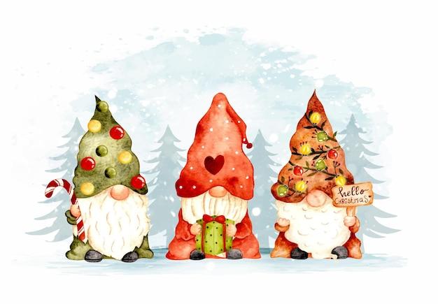 Watercolor hand drawn christmas gnomes