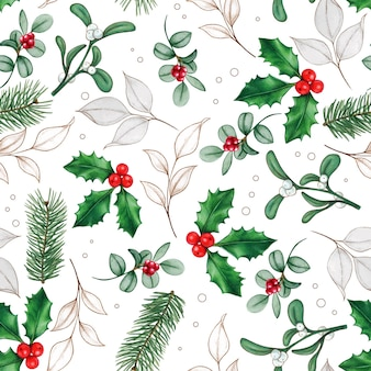 Watercolor hand drawn christmas leaves and berries  pattern