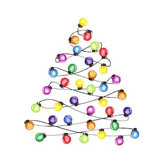 Иллюстрация гирлянды рождественской вечеринки акварели нарисованная рукой, форма рождественской елки.