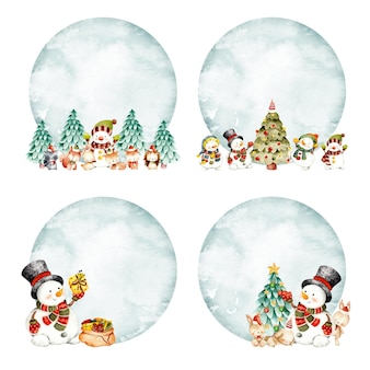 Watercolor hand drawn christmas snowman frame template