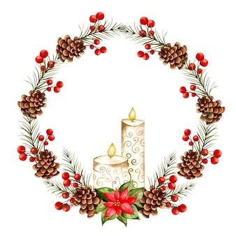 Акварель рисованной рождественский венок со свечой
