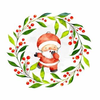 Watercolor hand drawn christmas wreath with santa