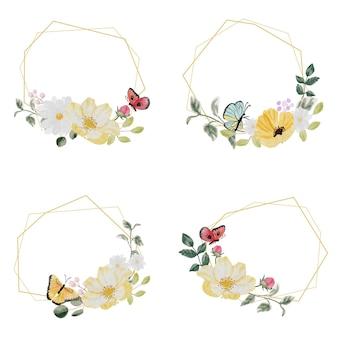 Акварель рисованной красочный весенний цветок и букет зеленых листьев венок с золотой рамкой и коллекцией бабочек на белом фоне