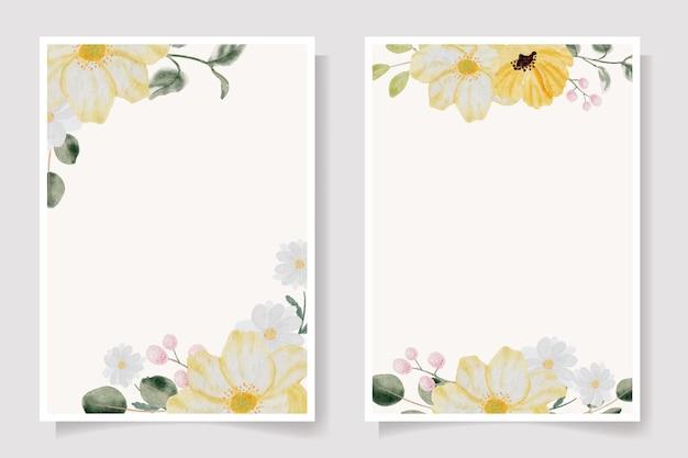 Акварель рисованной красочный весенний цветок и коллекция шаблонов карт с зелеными листьями