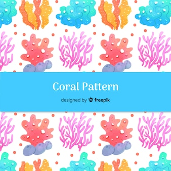 Watercolor hand drawn coral pattern