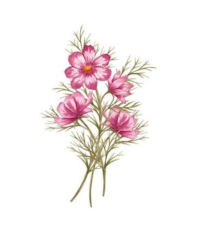 水彩手描きコスモスの花と結婚式のカードの花束を残します