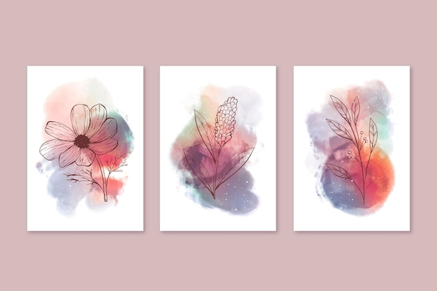 Watercolor hand drawn cover collection
