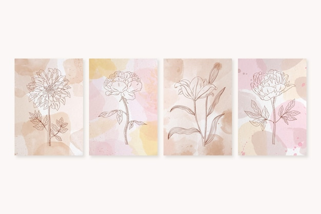 Collezione di copertine disegnate a mano ad acquerello