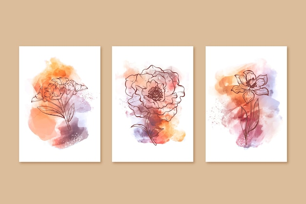 Watercolor hand drawn covers