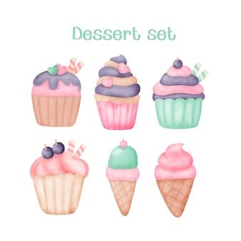 Watercolor hand drawn cupcake and ice cream set.
