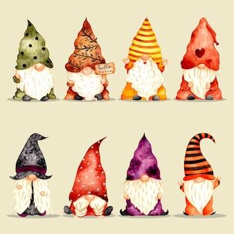 Watercolor hand drawn cute gnome set