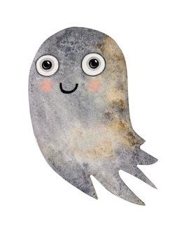 수채화 손으로 그린 귀여운 할로윈 유령 그림
