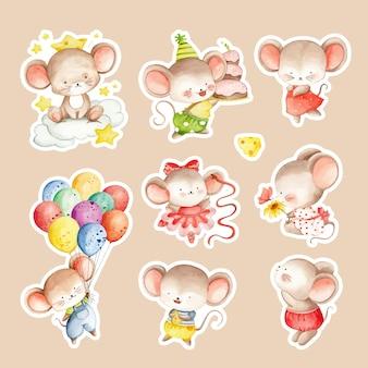 수채화 손으로 그린 귀여운 마우스 스티커