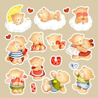 Watercolor hand drawn cute teddy bear sticker
